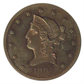 1867 J-602 $10 PF obverse