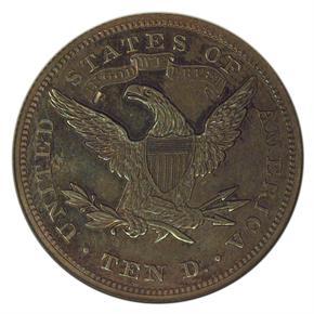1867 J-602 $10 PF reverse