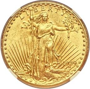1929 $20 MS obverse