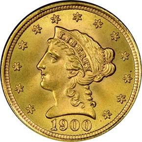 1900 $2.5 MS obverse
