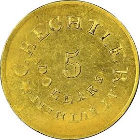 (1837-42) C.BECHTLER 134G, STAR $5 MS reverse