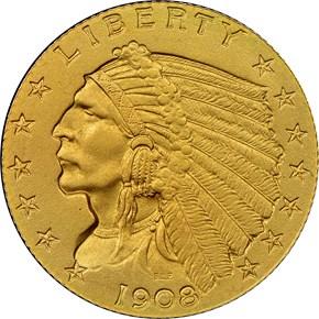 1908 $2.5 PF obverse