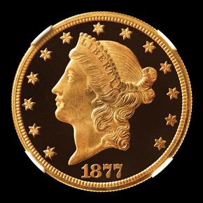 1877 $20 PF obverse