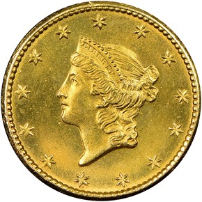 1849 SMALL HEAD NO L G$1 MS obverse