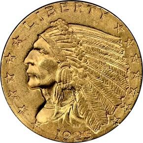 1925 D $2.5 MS obverse