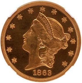 1863 $20 PF obverse