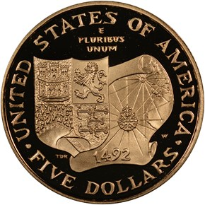 1992 W COLUMBUS $5 PF reverse