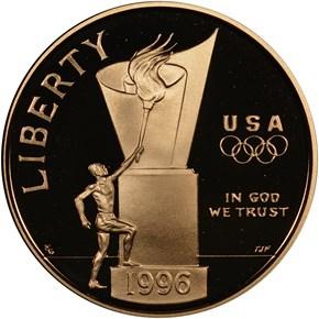 1996 W OLYMPICS - CAULDRON $5 PF obverse