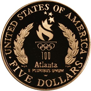 1996 W OLYMPICS - CAULDRON $5 PF reverse