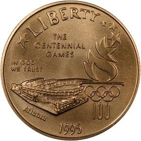 1995 W OLYMPICS STADIUM $5 MS obverse