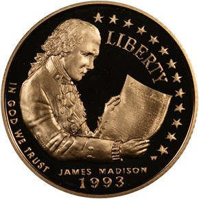 1993 W JAMES MADISON $5 PF obverse
