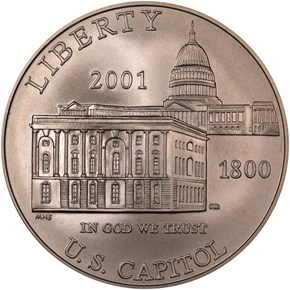 2001 P CAPITOL VISITOR CENTER S$1 MS obverse