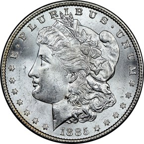 1885 $1 MS obverse