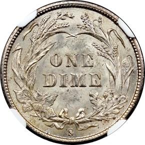 1895 S 10C MS reverse
