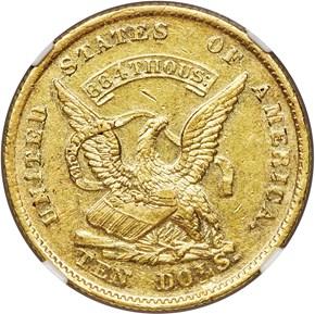 1852 AUGUSTUS HUMBERT $10 MS obverse