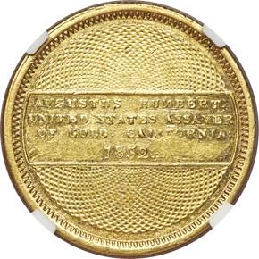 1852 AUGUSTUS HUMBERT $10 MS reverse