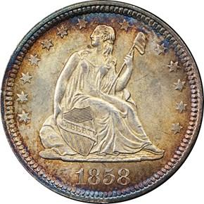 1858 25C MS obverse