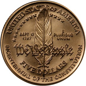 1987 W CONSTITUT $5 MS reverse