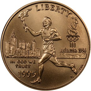 1995 W OLYMPICS - TORCH RUNNER $5 MS obverse