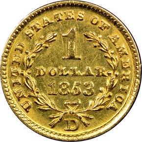 1853 D G$1 MS reverse