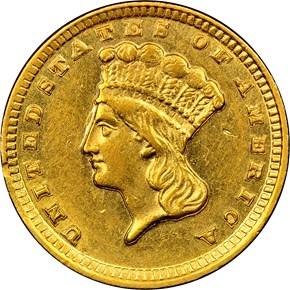 1857 D G$1 MS obverse