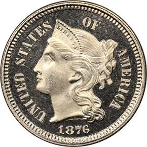 1876 3CN PF obverse