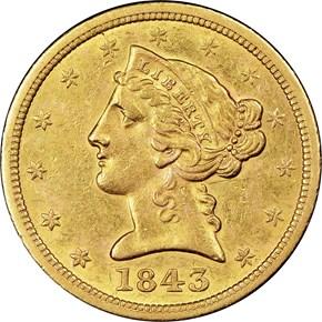 1843 O $5 MS obverse