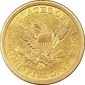 1843 O $5 MS reverse