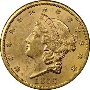 1866 S MOTTO $20 MS obverse