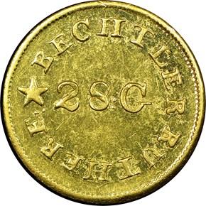 (1837-42) C.BECHTLER 28G, N REVERSED G$1 MS obverse