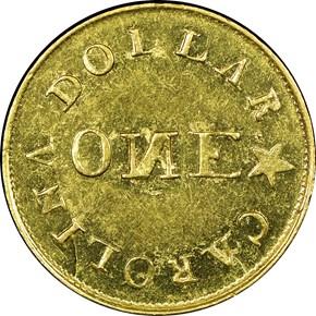 (1837-42) C.BECHTLER 28G, N REVERSED G$1 MS reverse