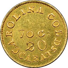 (1837-42) C.BECHTLER 70G, 20C $2.5 MS obverse