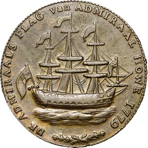 1779 RHODE ISLAND WREATH BELOW SHIP TOKEN MS obverse