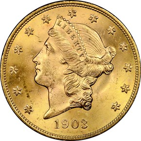 1903 $20 MS obverse