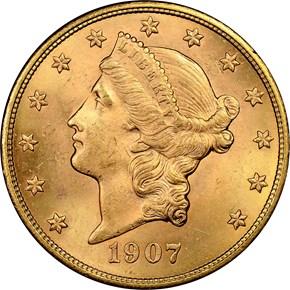 1907 LIBERTY $20 MS obverse