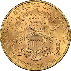 1907 LIBERTY $20 MS reverse