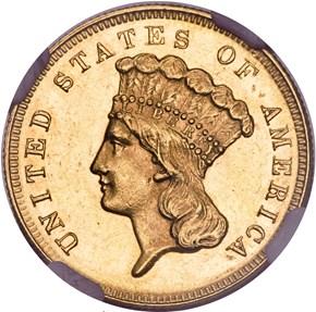 1867 $3 MS obverse