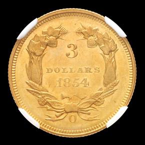 1854 O $3 MS reverse