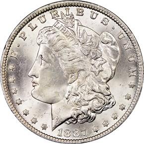 1887/6 O TOP-100 VAM-3 $1 MS obverse