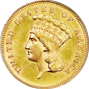 1863 $3 MS obverse