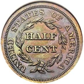 1848 RESTRIKE 1/2C PF reverse