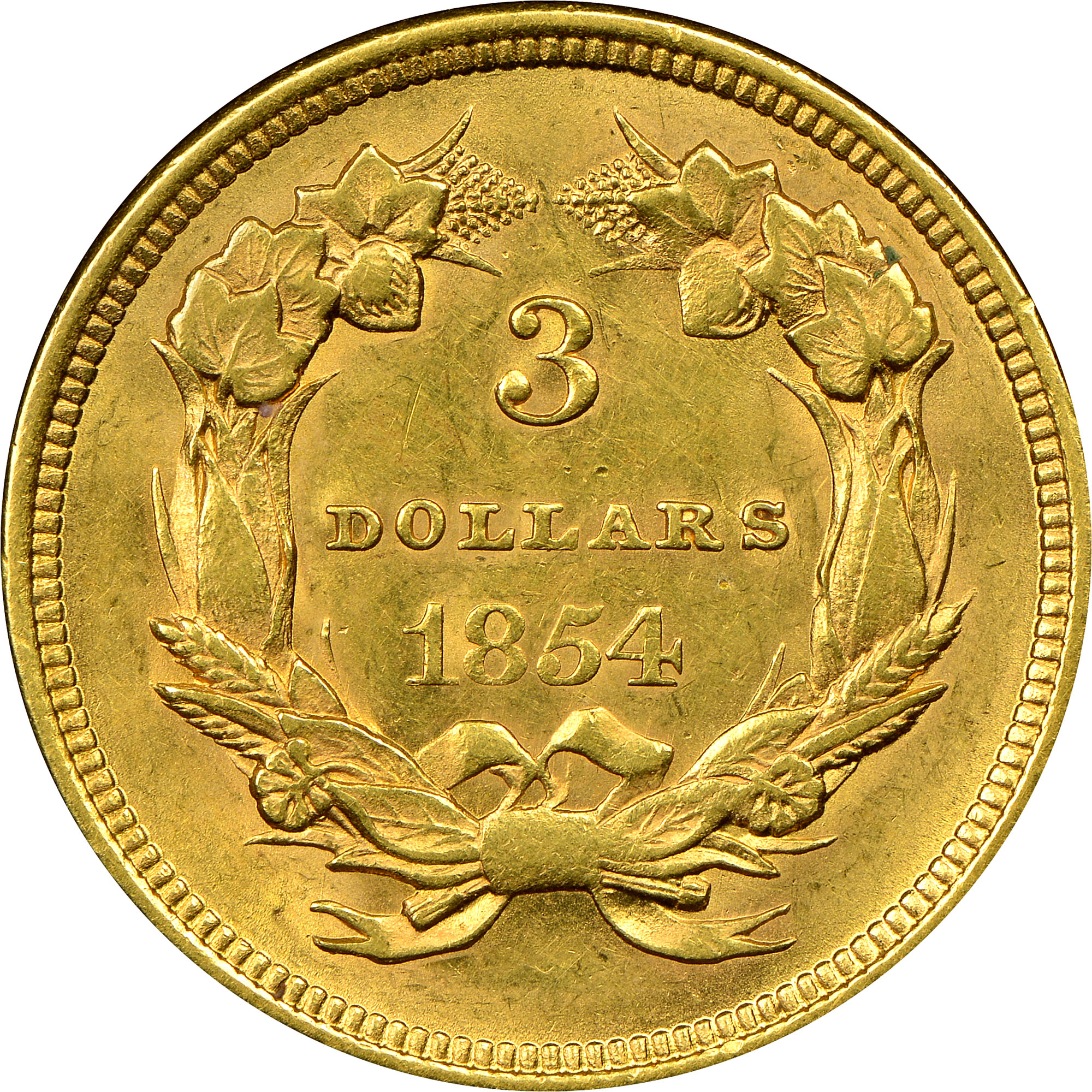 1854 3 ms three dollar gold ngc