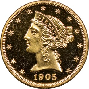 1905 $5 PF obverse