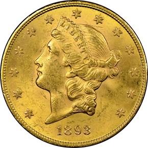 1893 S $20 MS obverse