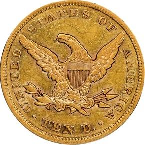 1858 $10 MS reverse