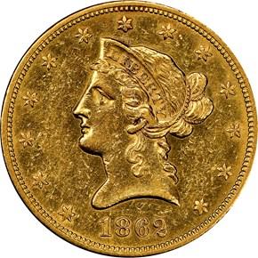 1862 $10 MS obverse