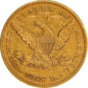 1877 $10 MS reverse