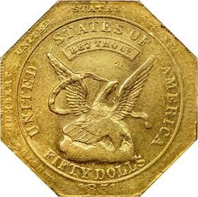 """1851 """"887"""" NO """"50"""" AUGUSTUS HUMBERT $50 MS obverse"""