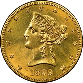 1899 S $10 MS obverse
