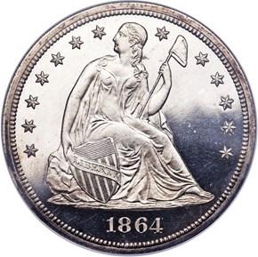 1864 $1 PF obverse
